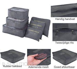 6-delige packing cubes set – merkloos
