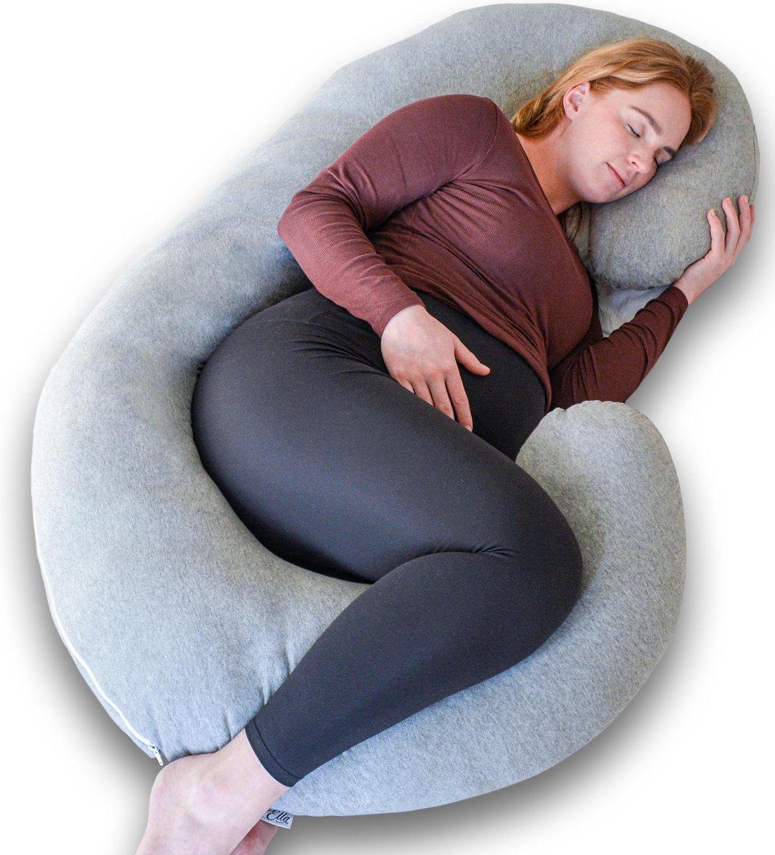 Ella zwangerschapskussen XXL C-vorm - Voedingskussen - Lichaamskussen - Afneembare Jersey Katoenen Hoes - 150x70cm - Lichtgrijs
