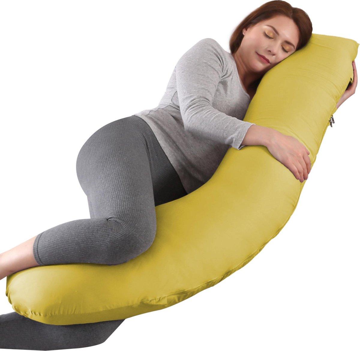 Litollo® Zwangerschapskussen (J-vorm) - Zijslaapkussen - Voedingskussen - Lichaamskussen - Body pillow - 145cm - Afneembare hoes - Okergeel