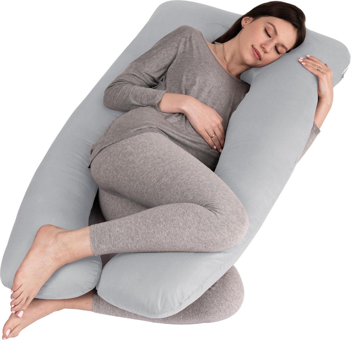 Zwangerschapskussen XXL | Voedingskussen | Lichaamskussen | 280cm | Incl. opbergtas | Afneembare hoes | Grijs